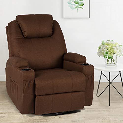 Esright Coffee Fabric Massage Recliner Chair 360° Swivel Heated Ergonomic Lounge Reclining Chair