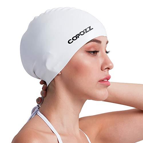 COPOZZ Erwachsene Badekappe, Unisex Wasserdicht Schwimmkappe für Herren Damen, Lange Haare Silikon Swimming Cap Bademütze für Männer Frauen