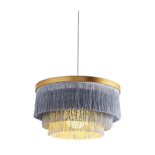 Light Lamp Chandelier Gray Round Three-tier Tassel Chandelier With Fleece Suspension Lamp E26/E27 Modern Minimalist Warm Silk Polyester Ceiling Chandelier For Living Room Bedroom Dining Room [Energy G