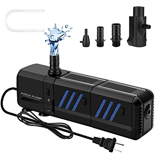Submersible Water Pump Aquarium Filter 400GPH (1500L/H, 15W) Ultra Quiet 4-in-1 Fish Tank Filter Adjustable Water Flow Detachable Water Fountain Pump with 5.2ft High Lift for Fish Tank, Pond, etc