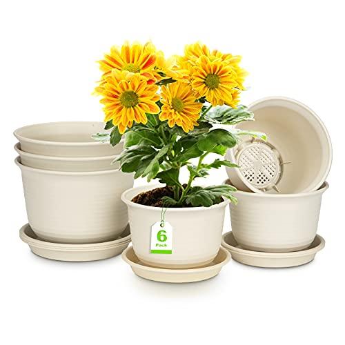 6 Stück Blumentopf, Pflanztopf aus Kunststoff mit Untersetzer Abflusslochs, Runder Blumentöpfe für Innen-Außen Balkone Pflanzen Wanddekoration (2 Größen 15 cm, 18 cm, Beige)