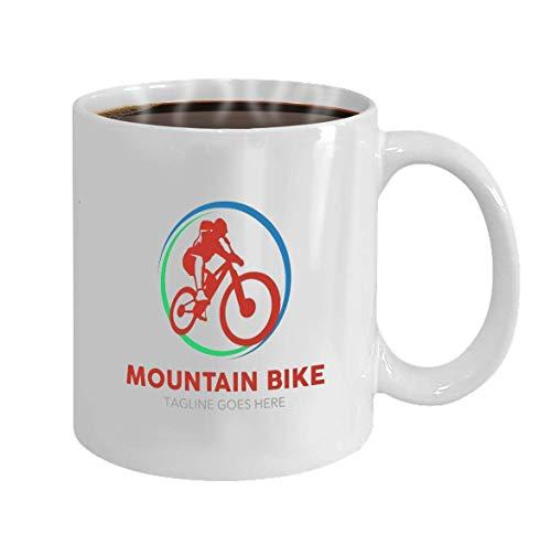 Gift Koffie Mokken Theekopjes Wit Keramisch 11 Oz Unieke Mountainbike Logo Eenvoudige Vorm Kleuren Werk