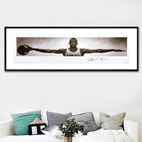 cgsmvp Moderne Wandkunst Leinwand Bilder für Wohnzimmer Wohnkultur Michael Jordan Wings signiert Poster Druck Leinwand Malerei / 40x120cm-kein Rahmen
