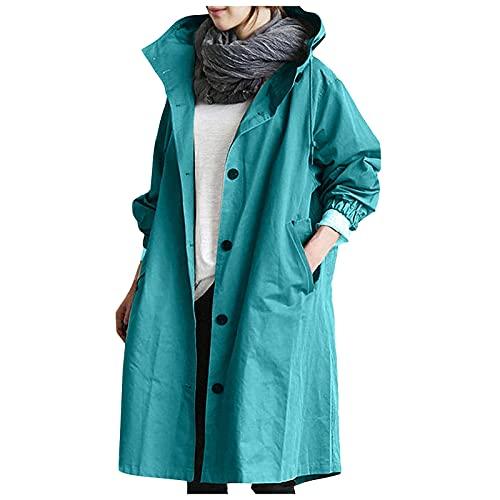 Chaqueta cortavientos para mujer, estilo informal, con botones, manga larga, cuello alto, con bolsillo, B Azul Cielo, XL