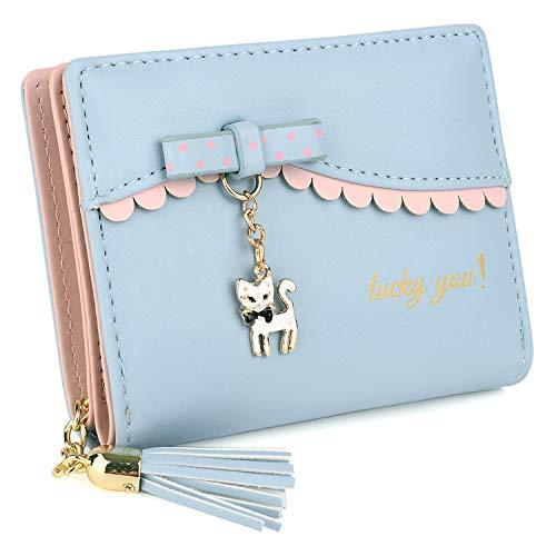 UTO Damen PU Leder Geldbörse Karte Fächer Organizer klein Münze Purse Tassel Reißverschluss Baby blau