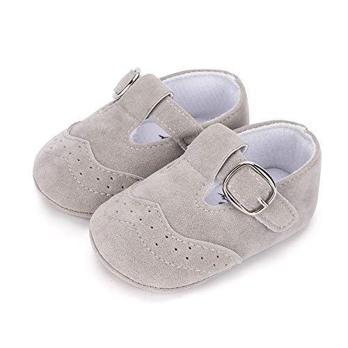 LACOFIA Zapatillas Antideslizantes para bebé niño Zapato Primeros Pasos de Cuero Suave de PU para bebé Gris 3-6 Meses