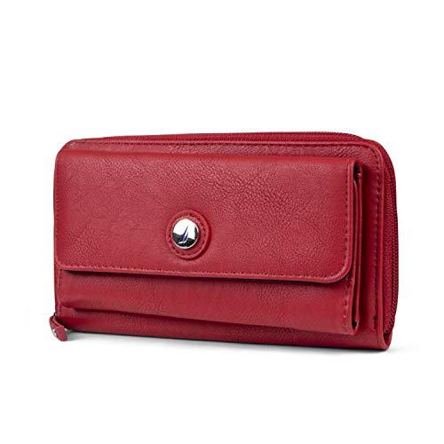 Nautica Bulk Cargo Womens RFID Wallet Clutch Zip Around Organizer (Fuego Red)