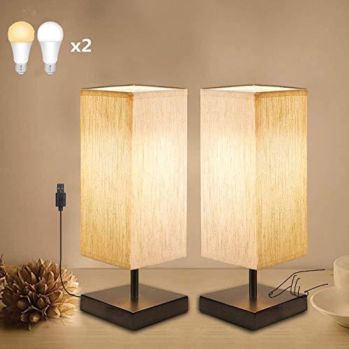 Lámpara de Noche, Regulable Táctil, USB Lámpara de Mesa Pantalla Cuadrado de Tela Gris, 4 LED Bombillas Incluir, E27 Luz Nocturna para Dormitorio, Sala de Estar