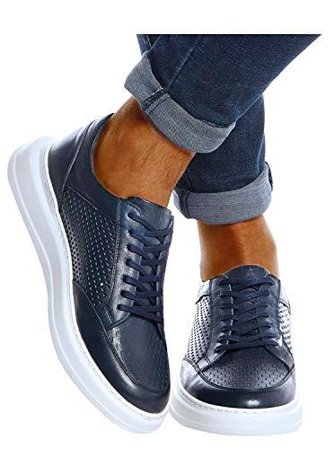 Leif Nelson Scarpe da uomo in pelle per il tempo libero, eleganti, invernali, estive, per il tempo libero, da uomo, sportive, scarpe da corsa, scarpe basse LN437, Blu (Blu scuro), 43 EU