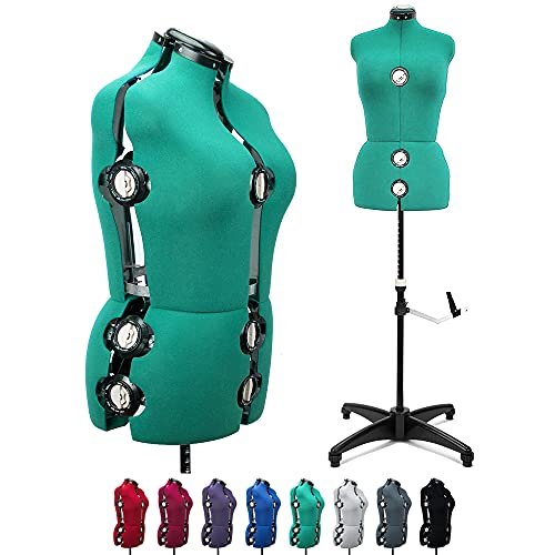 Green 13 Dials Female Fabric Adjustable Mannequin Dress Form for Sewing, Mannequin Body Torso with Tri-Pod Stand, Up to 70' Shoulder Height (Medium)
