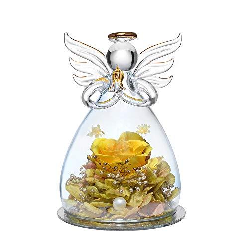 Für immer Rose in Engel Glasfiguren Künstliche Blume in einer Glaskuppel - Ewige handgemachte Blumen Galaxie Gelbe Rose Einzigartige Geschenke für Frauen Weihnachten Valentinstag Jubiläum Geburtstag