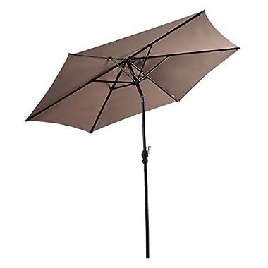 Giantex 9ft Patio Umbrella Patio Market Steel Tilt w/Crank Outdoor Yard Garden (Tan)