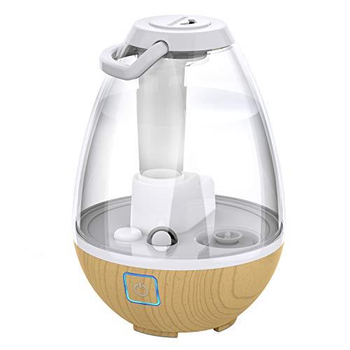 Sharper Image UHT1-SI Ultrasonic Cool Mist Humidifier, 0.4 Gallon (1.5L) Water Tank, 2 Settings, Auto Shut-Off, 360° Rotatable Nozzle, Illuminated Touch Control, LED Nightlight, Ash Woodgrain