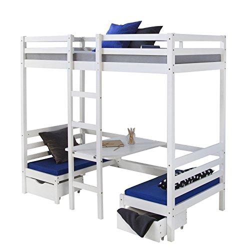Lit enfant mezzanine superpos blanc 90x200 pin massif bureau avec coussins bleue