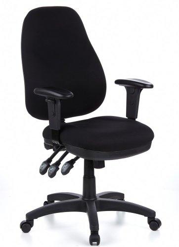 hjh OFFICE 702000 Profi Bürostuhl ZENIT PRO Stoff Schwarz Bürosessel ergonomisch, Rückenlehne verstellbar, gepolstert