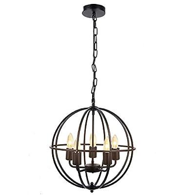 Deckey Indoor Chandelier, Orb Chandelier, Industrial Vintage Lighting Ceiling Chandelier, 5 Lights Metal Hanging Fixture, for Dinning Room, Bedroom Room, Bathroom, Entrance, Hallway, CE/ROHS/FCC