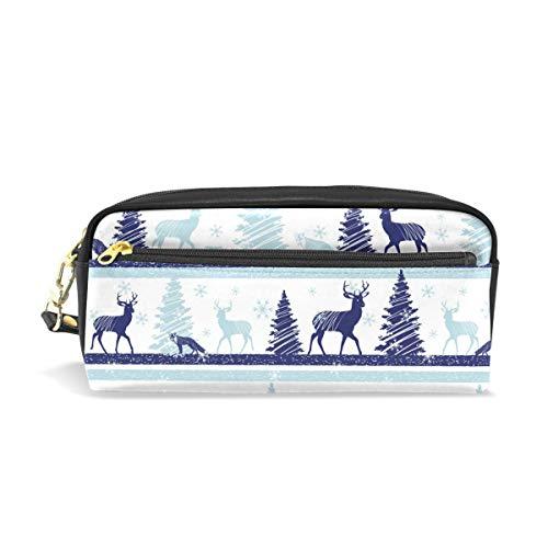 Estuche para lápices de renos de Navidad, bolsa de piel grande con...
