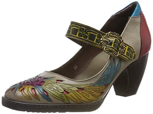 Socofy Cuero Zapatos de Tacón Medio de Mujer, Verano Primavera Fabricados a Mano con un Flores Tamaño 36-42 Gris Mary Jane Diseño Elegante y Moderno Estilo Bohemia