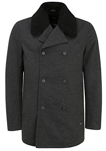 !Solid Pinto Herren Wintermantel Wollmantel Winterjacke mit abnehmbarem Teddyfell-Kragen, Größe:M, Farbe:Dark Grey Melange (1940071)
