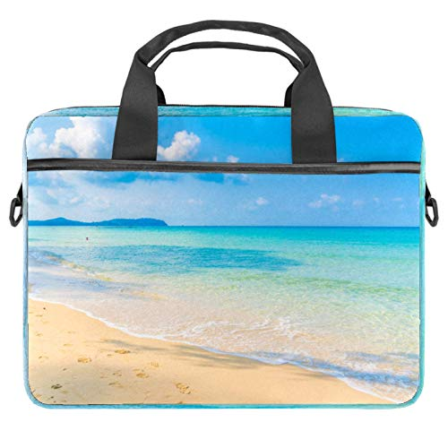 Laptop Bag Beach Sky Blue Notebook Sleeve with Handle 13.4-14.5 inches Carrying Shoulder Bag Briefcase