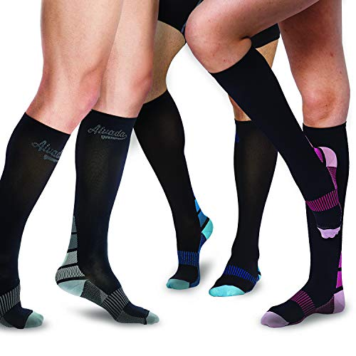 Alvada Compression Socks for Men & Women with Foot Massager Pad 1 Pair Black Pink SM