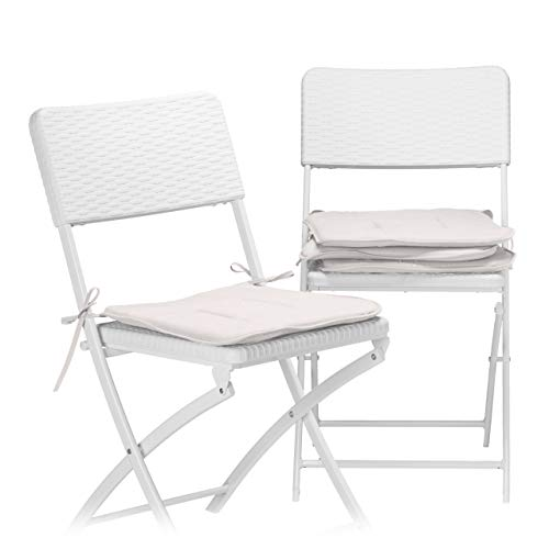 Relaxdays Set of 4 Seat Cushions, 38x38 cm, with Bow, For Chairs in the Home or Garden, Bright Colours, Washable, Polyester, Taupe