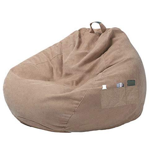 Hands DIY Funda para sillón tipo saco con asa y bolsillos laterales, funda para puff con cremallera para sillón tipo saco de relleno, color marrón, 100 x 120 cm