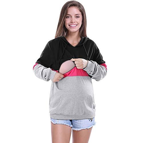 SANFAHSION Sweatshirt Maternité Blouse Couture Tops Allaitement Hiver Encapuchonné Chemise Manche Longue Col Rond Sweat Poche Haut Casual Hiver (XL, Z- Rose)