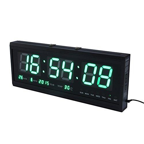ZJchao - Temporizador digital LED de pared moderno con temperatura de calendario para salón, oficina, sala de reuniones (verde)