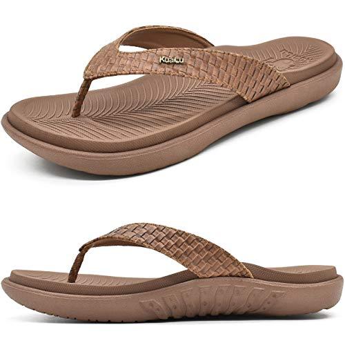 KuaiLu Marrón Chanclas Mujer Verano Playa Sandalias de piscina Apoyo de Arco Ortopedicas Chanclas Zapatos Cómodos para Caminar Antideslizante Talla 42EU