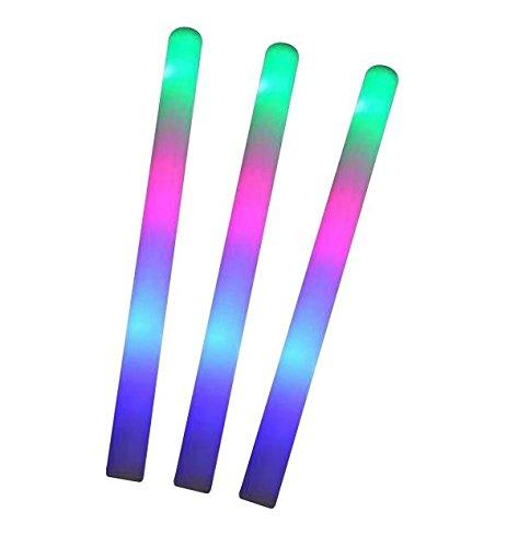 10x LED Schaumstoff Leuchtstick mit Lichteffekt blinkend Glowstick Partylicht