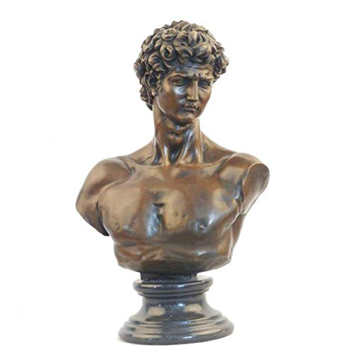 IUYJVR Estatua del Busto de David, Arte Michelangelo Bronce David Obra de Arte Busto Decoración Jardín Vintage Escultura Artesanal para el hogar
