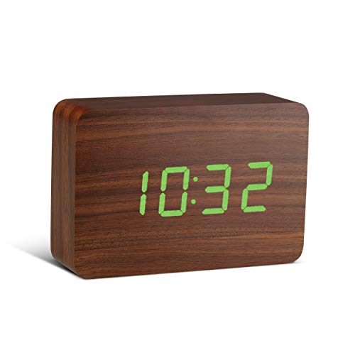 Gingko Brick Click Clock Walnut wekker - houtlook