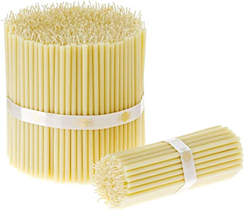 Danilovo - 50 candele in cera d'api bianche, per preghiera, rituali, decorazione da tavolo per matrimonio, atossiche, senza fuliggine, prodotti sostenibili, N120, altezza: 15 cm, Ø 5,4 mm