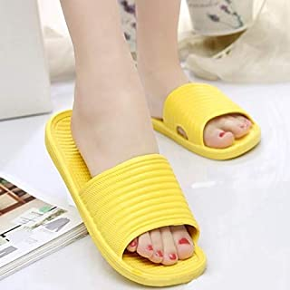 Women Summer Sandals Beach Bathroom Ultralight Comfortable Platform Slippers Casual Shoes Female Home Interior Slippers Simple and cute candy-colored slippers (Color : Yellow, Shoe Size : 8.5)