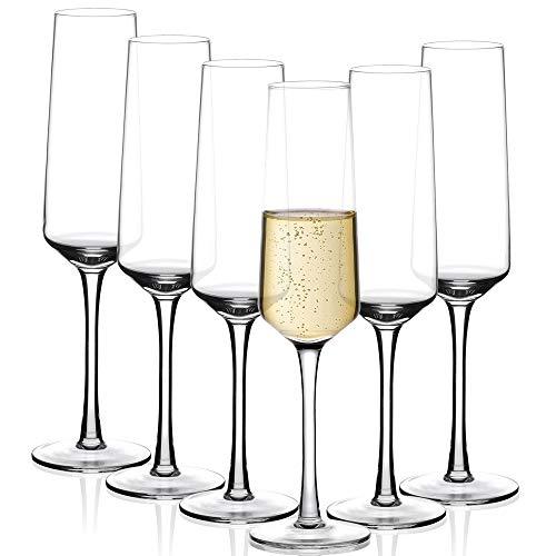 Amisglass Sektgläser Set, 6 stück, 280ml Champagner Gläser, klares Kristallglas, kristallklare Klarheit, Bleifrei & Hochwertig