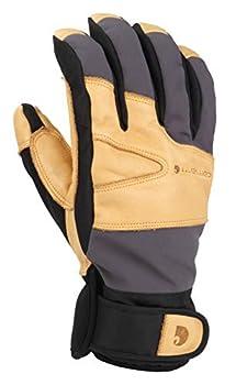 Carhartt Men s Winter Dex Cow Grain Leather Trim Glove Dark Grey/Brown X-Large