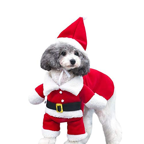 Cuteboom Pet Christmas Costumes Dog Suit with Cap Santa Claus Suit Dog Hoodies Cat Xmas Costumes Party Suit Warm in Winter (XXL, Red)