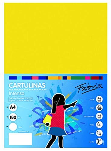 Confezione da 50 cartoncini giallo forte, formato A4, 180 g