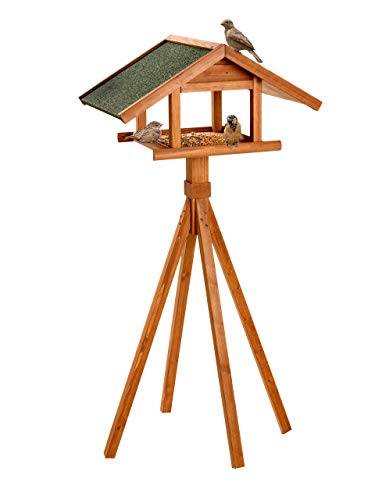 trendmile Premium Vogelhaus - Futterhaus mit Ständer 144x66x47cm aus Naturholz