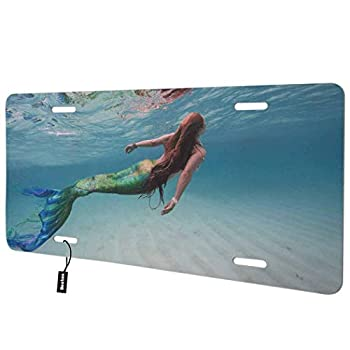 Beabes Beautiful Women Front License Plate Cover,Mermaid Swimming Under The Sea Decorative License Plates for Front of Car Vanity Plate for Men Women Alumium 6x12 Inch