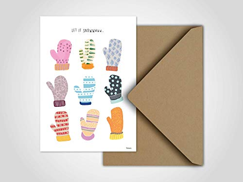 Let it Snow — Weihnachtskarte, Grußkarten, Karten, Weihnachten, Schnee, Handschuh, Schneeball, Winter, Stricken, Familie, Weihnachtsgeschenk