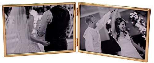 LEADEX Marco de fotos chapado en oro de doble filo, horizontal, 4 x 6 pulgadas, parte trasera de terciopelo, estilo clásico simple
