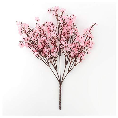 HETHYAN La Seda de Las Flores Artificiales for la decoración casera de plástico Stem Novia Ramo de la Boda de la Flor de Cerezo Mariage falsificación Flor de Bricolaje (Color : Pink)
