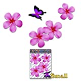 JAS Stickers Frangipani Blume Schmetterling Auto Aufkleber - Rosa - Plumeria Tier Tropisch Klein Vinyl Aufkleber Pack Für Laptop Gepäck Fahrrad Wohnwagen Van Wohnmobile LKW & Boote - ST00024PK_SML