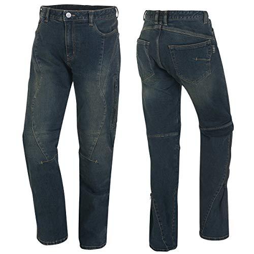Germot Herren Motorrad-Jeans Matt, herausnehmbare Knie-Protektoren, Slim Fit, blau, Gr. 34/32