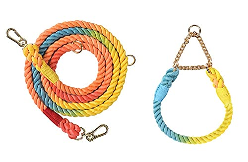 Cuerda de Correa para Perro,Correa de Perro Estándar Fuerte de Algodón Trenzado Arcoíris de 82 Pulgadas,con Collar de Perro del Mismo Color