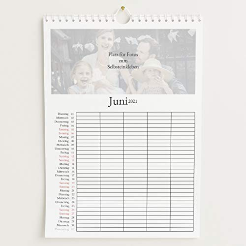 sendmoments Familienkalender 2021 gestalten mit Relieflack, Schönes Jahr, Bastelkalender zum Einkleben Gedruckter Fotos, 5 Spalten, Spiralbindung, DIN A4 Hochformat
