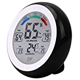 Household Digital LCD Display Indoor Thermometer Hygrometer Round Wireless Electronic Temperature Humidity Meter Weather Station Tester