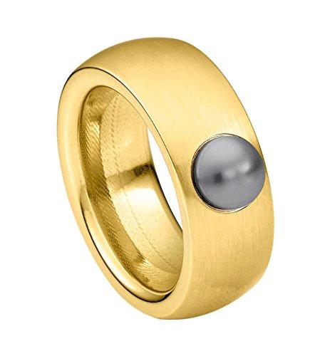 Heideman Ring Damen aus Edelstahl Gold farbend matt Damenring für Frauen mit Swarovski Perle grau Cabochon 6mm